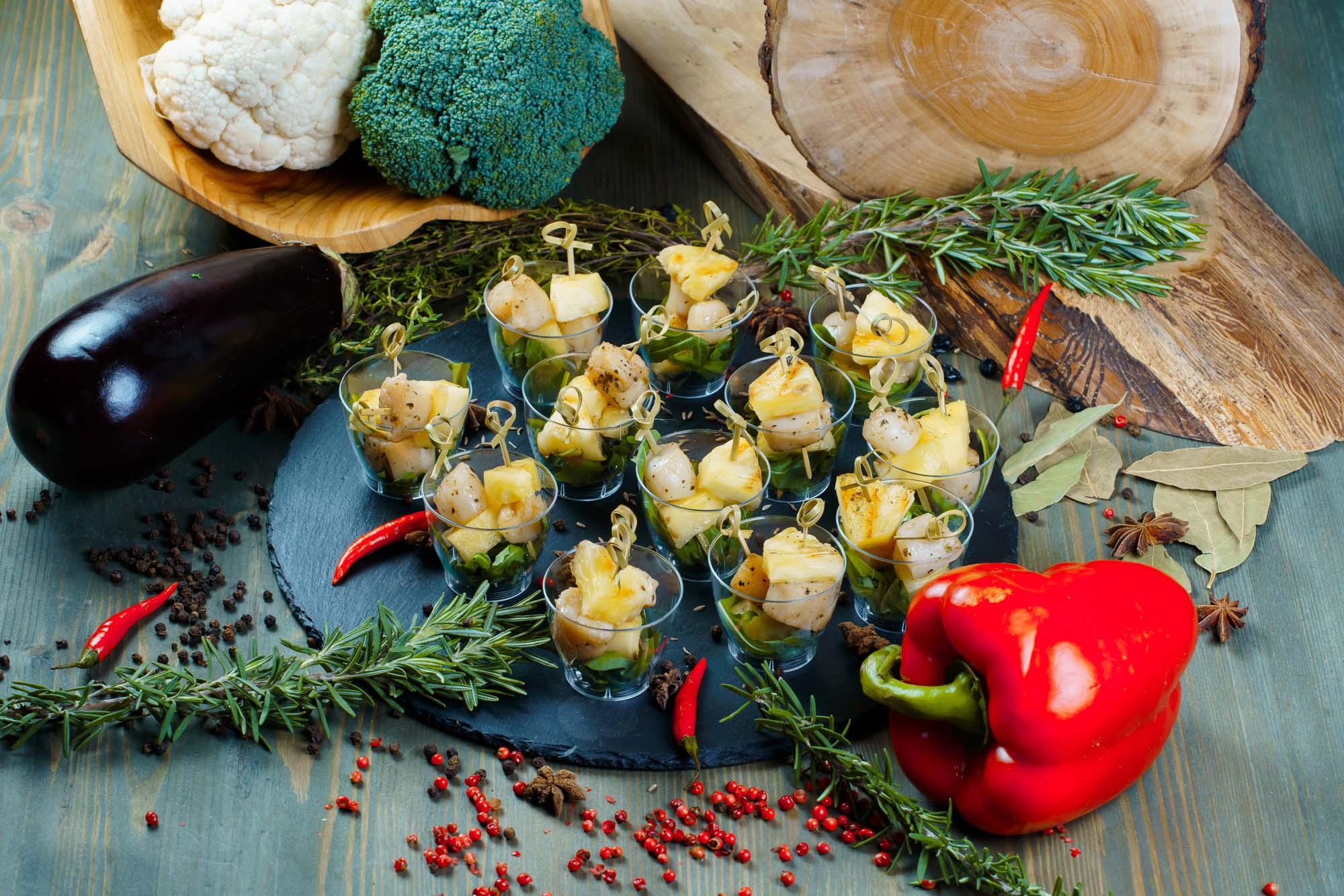 СЕТ №25 Морской гребешок с ананасом гриль и чили (острое) 12 шт по 35 гр